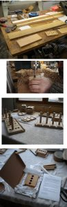 Some basic workshop pictures showing a table, a drill press, an assortment of half finished stands and some packaging