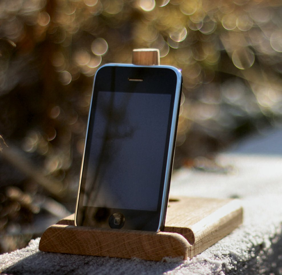 Oak tablet stand outdoors