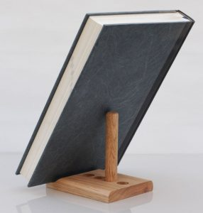 Oak tablet stand heavy book
