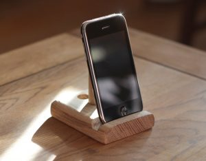 Phone stand on a table with no writing