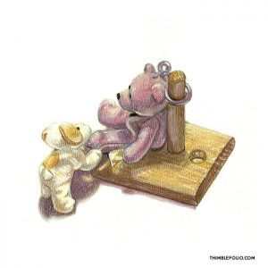 Colour drawing of toy bears on a tablet stand