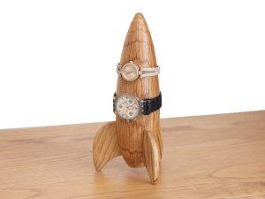 Oak rocket shaped watch holder
