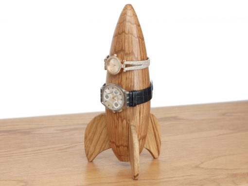 Oak rocket shaped watch holder